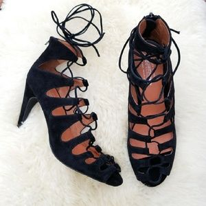 Free People x Jeffrey Campbell lace up suede heel